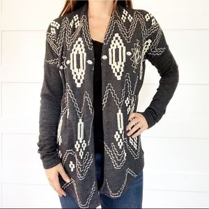 Lucky Brand Navajo Embroidered Cardigan Sweater